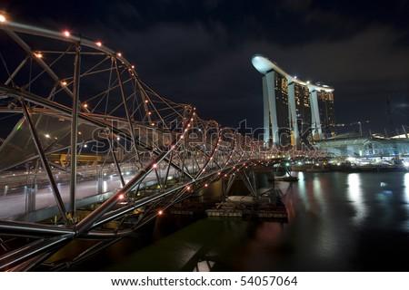 Helix Bridge and Marina Bay Sands, Singapore