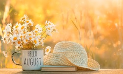 hello August. chamomile flowers in Cup, old book, braided hat in garden. Rustic Summer seasonal landscape. copy space