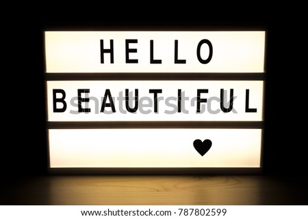 Hello beautiful light box sign board on wooden table.  #787802599