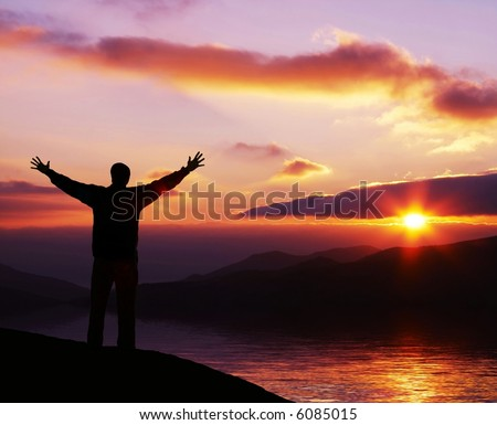 hello day! Happy man silhouette on sunrise