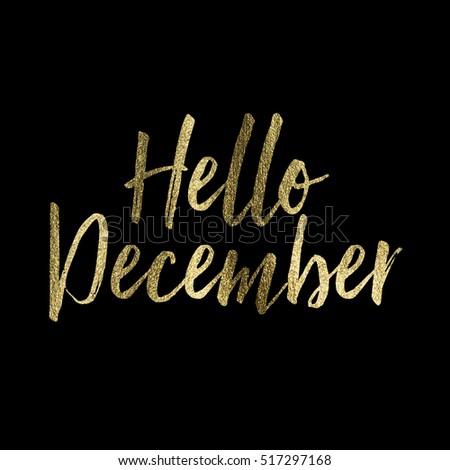 Hello December gold glitter lettering