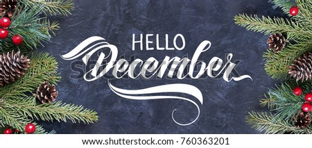 Hello December hand lettering. Spruce branches and cones frame. Great season texture with december and winter mood.