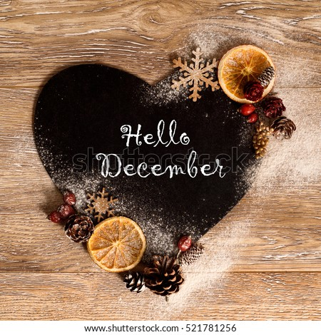 hello December Wallpaper with heart shape, snowflakes orange and pine cones