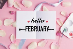Hello february on pastel background.