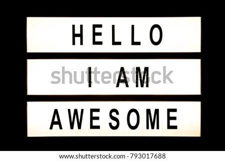 Hello I am awesome hanging light box sign board. #793017688