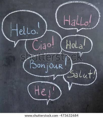 Free photos kids holding greeting signs in different languages hello in many languages chalk painted 473632684 m4hsunfo