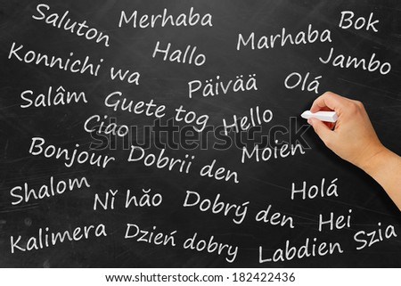 Hello in various languages on a black board