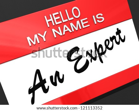 Hello My Name is An Expert on a name tag.
