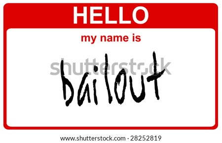 hello my name is bailout red sticker