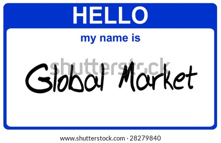 hello my name is global market blue sticker