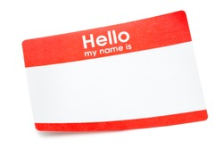 Hello my name is name tag sticker isolated on white background
