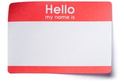 Hello My Name Is name tag sticker with corners lifting isolated on white background
