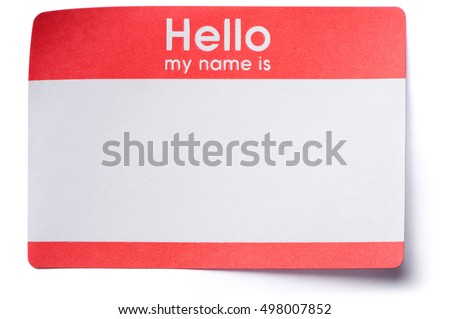 Hello My Name Is name tag sticker with corners lifting isolated on white background ストックフォト ©