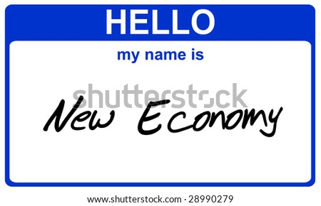 hello my name is new economy blue sticker