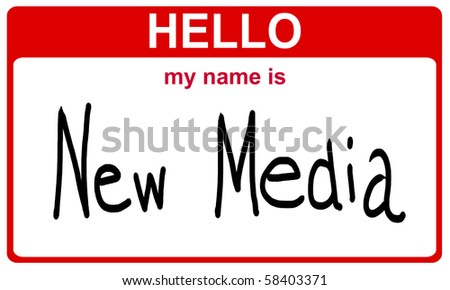hello my name is new media red sticker