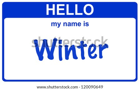 hello my name is winter blue sticker
