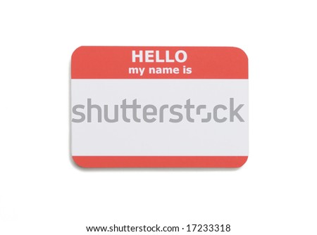 Hello name tag isolated on white background