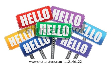 hello signs illustration design over a white background
