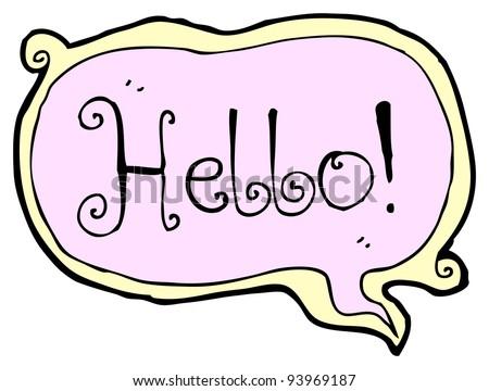 hello speech bubble cartoon  (raster version)