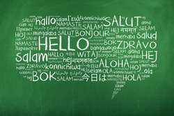 Hello Speech Bubble Word Cloud on Chalkboard in Many Different Languages