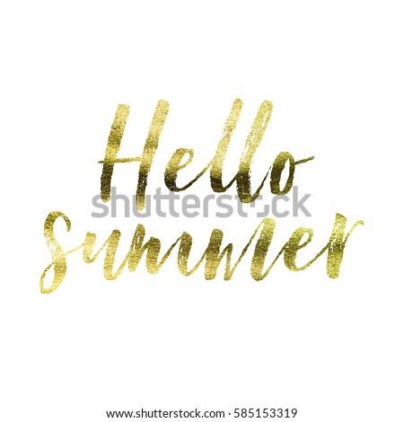 Hello Summer Gold Foil Quote On A Plain White Background Ez Canvas