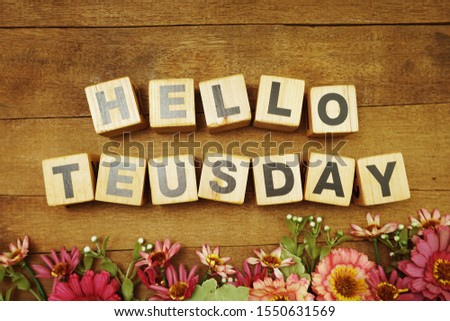 Hello Tuesday alphabet letter with space copy on wooden background #1550631569