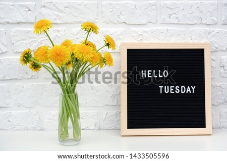 Hello Tuesday words on black letter board and bouquet of yellow dandelions flowers on table against white brick wall. Concept Happy Tuesday. Template for postcard. #1433505596