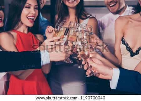 Hello, welcome to new life in 2019! Nice cool bright vivid shiny attractive beautiful laugh charming slim glamorous winsome cheerful ladies and gentlemen, chill out at fasionable night club, gathering #1190700040