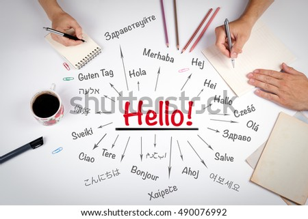 Hello word in different languages of the world. The meeting at the white office table