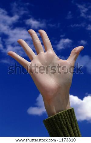 Helloooooo - Female Hand Waving Hello Or Help Stock Photo ...
