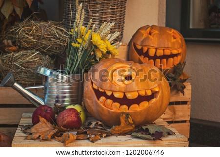 Helloween pumpkin decoration. Helloween party. Helloween celebration attributes.