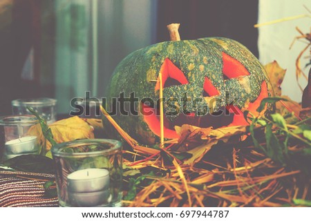 Helloween pumpkin decoration. Helloween party. Helooween celebration attributes.