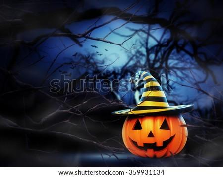 Helloween pumpkin in the forest