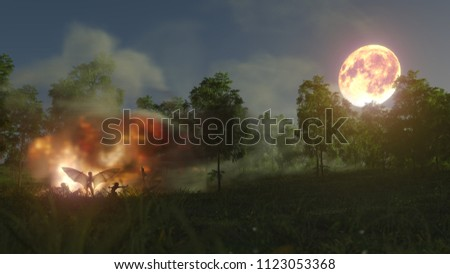 helloween witches in forest mystery with bonfires concept background 3d illustration,3d rendering