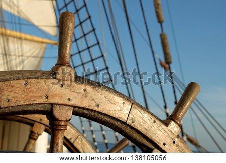 helm of sailing boat