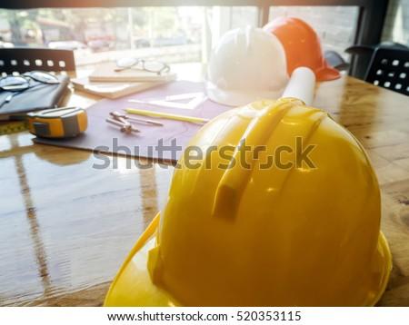 helmet and etc. on blueprint, architectural concept