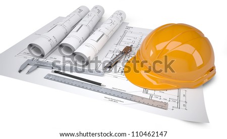 Helmet and tools for construction drawings. Isolated on white background