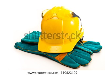 Helmet builder, protective gloves and glasses on a white background