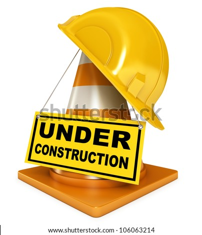 Helmet for builder worker. Traffic cones. Under construction sign. Icon isolated on white background. 3d render
