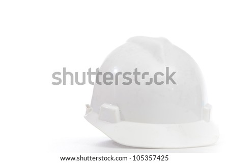Helmet on white isolated for wear when working at site or workshop