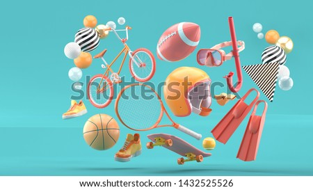 Helmet, tennis racket, skateboard, cycle, basketball, American football, shoes and diving equipment surrounded by colorful balls on a blue background.-3d rendering.