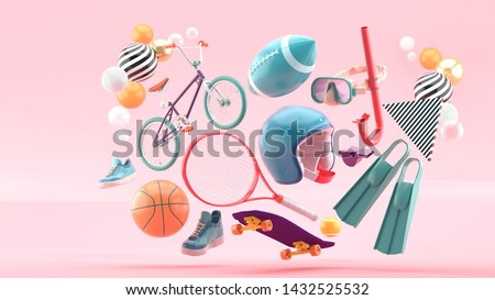 Helmet, tennis racket, skateboard, cycle, basketball, American football, shoes and diving equipment surrounded by colorful balls on a pink background.-3d rendering.