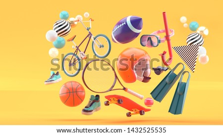 Helmet, tennis racket, skateboard, cycle, basketball, American football, shoes and diving equipment surrounded by colorful balls on an orange background.-3d rendering.