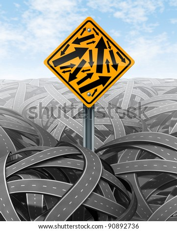 Help and Customer Service symbol with a yellow road sign with multiple arrows in different directions on a background of tangled streets as a symbol of confusion of complicated challenges.