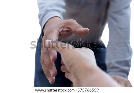 Help concept man reaching to help isolated in white background #575766559
