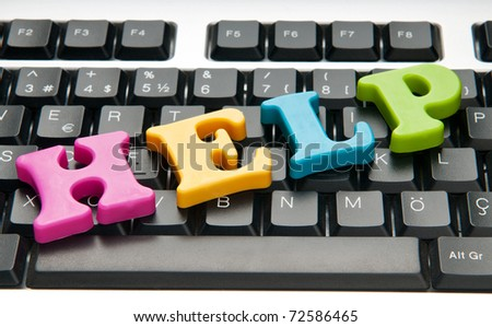 HELP concept with letters on keyboard