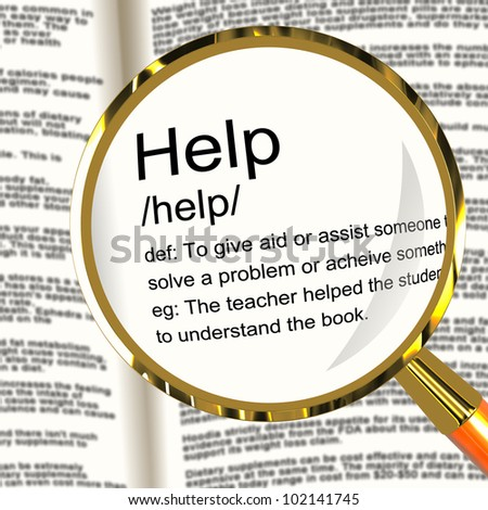 Help Definition Magnifier Shows Support Assistance And Service - stock photo