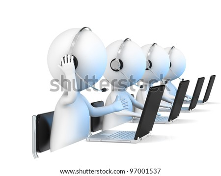 Help Desk. 3D little human character X 4 in a Call Center. White Background. Business people series.