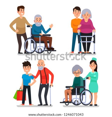 Help old disabled people. Social worker of volunteer community helps elderly citizens at home and sick character patients on wheelchair, nurse caring senior with cane colorful  set icon