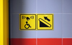 Help sign for a person in a wheelchair. Assistance in climbing stairs. icon for handicap.
